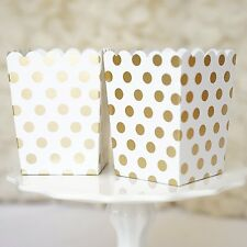 10 Gold and White Polka Dot Popcorn Favor Gift Boxes Bridal Baby Shower to Pop