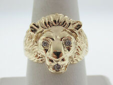 "Diamonds ""LION'S HEAD"" Band Solid 10K Yellow Gold MEN'S Ring FREE Sizing"