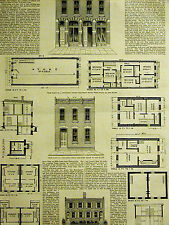 Chicago Low Cost Housing Plans CHEAP & COMFORTABLE  1875 Antique Print Matted