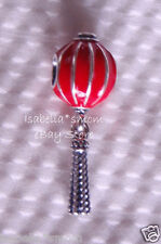 CHINESE LANTERN Authentic PANDORA Sterling Silver/RED Enamel DANGLE Charm-Bead