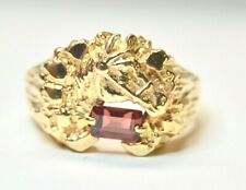 Ring 14k Gold Horse Head Nugget With Tourmaline Size 9  Weight 13.66 Grams