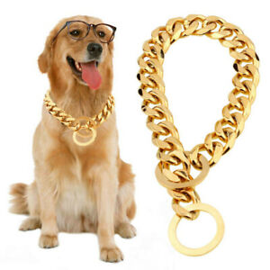 Big Dog Chain Gold Cuban Luxury Designer 15mm Large Collar Solid StainlessSteel