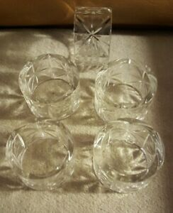"""Cut Crystal Napkin Rings Set of 5 Clear Holders 1.75""""x1""""  Round Star"""