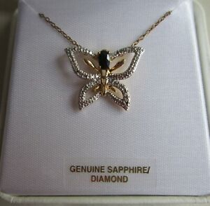 YELLOW GOLD OVER .925 STERLING SILVER GENUINE SAPPHIRE / DIAMOND ACCENT NECKLACE