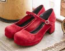Women's Lolita Block Cosplay Suede Cute Low Heels Shoes Chunky Pumps Sandal D840