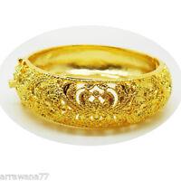 CARVE Lai Thai 22K 23K 24K THAI BAHT YELLOW  GOLD GP JEWELRY  BANGLE BRACELET