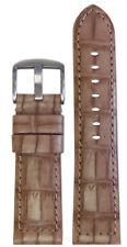 22mm Panatime Cork Classic Leather Watch Band w/Gator Print & Match Stitching