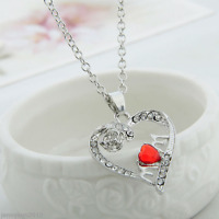 New Mother's Day Gift Crystal Mom Love Heart Pendant Chain Necklace Charm Silver