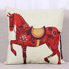 Horse Dressage Linen Square Pillow Cushion Cover.