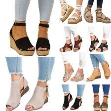 Women Platform Wedge Heel Espadrilles Ladies CasualChunky Sandal Peep Toe Shoes