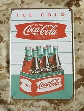 Coca Cola Ice Cold 6 Pack Shield Tin Sign Bar Pub Wall Décor Retro Style Shop