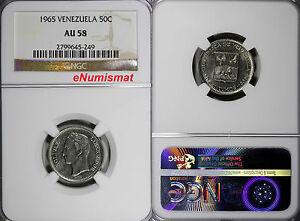 Venezuela Nickel 1965 50 Centimos NGC AU58 Y# 41