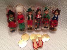 6 Vintage Doll Ornament Celluloid Girl Boy Set w/ Sleepy Eyes Jointed Christmas