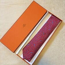 HERMES Blue Red PEAS & PODS Tie Print Classic Whimsical Necktie 7991 EA Box NEW?