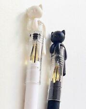 Lovable rogues cats kittens cute kawaii kitsch duo of 0.38mm black ink gel pens