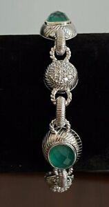 NWOT Authentic Retired Judith Ripka 925 Green Goddess Doublet Toggle Bracelet