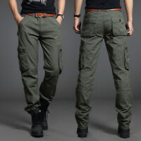 Men Outdoor Cotton Cargo Pants ARMY Combat Work Military Pocket Trousers Casual