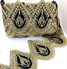 Stunning Black and Gold Lace Trim Ribbon Sewing Craft Wedding Sari Border 90 cm