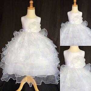 White Organza Ruffle Dress Holiday Baptism Communion Wedding Flower Girl#14