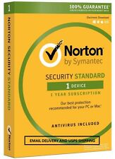 20 Norton Security Standard 3.0 2017 - 1 Device - Email Delivery - USPS Delivery