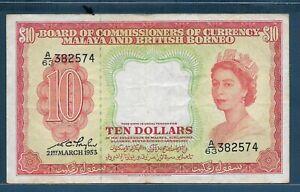 Malaya and British Borneo Malaysia 10 Dollars, 1953, P 3, VF