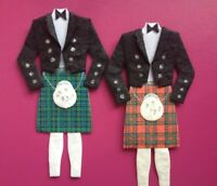4 Scottish Tartan Kilts Wedding Card Making Scrapbook Craft Embellishments
