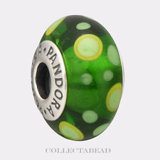 Authentic Pandora Sterling Silver Murano Green Bubbles Bead 790696 *RETIRED*