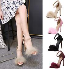 NEW Women Ankle Strap Fur Stiletto Pumps Open Toe Chunky Block High Heels Sandal
