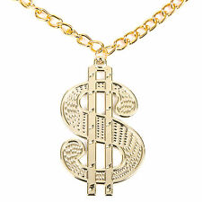 Gangster Pimp Medallion $ Dollar Necklace Fancy Dress Prop (WORLD BOOK DAY)