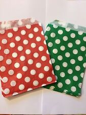 20 Red and Green Christmas Sweet Bags, Gift Bags, Favours, Festive Bag, Present