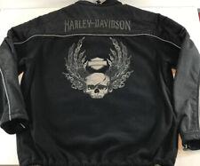 Harley Davidson Black Fleece Nylon Zip Up Jacket Mens 2XL Reflective Willie G