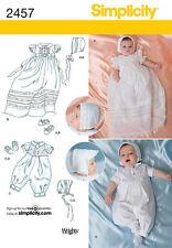 Patrón de costura simplicidad 2457 Bebés Bautizo conjuntos De Gorro, Zapatos Xxs Xs S M