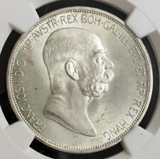 "1908, Austria, Francis Joseph I. Nice Silver 5 Corona ""Jubilee"" Coin. NGC MS63+"