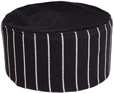 Black Chef Hat Pill Box Mesh Cap Adjustable Size Catering Kitchen Cook Baker New