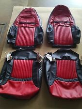 2001 - 2004 C5 Corvette Z06 Seat Torch Red/Black Leather Replacement Covers