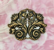 Stamping ~ Oxidized Finding (Fb-6042) Antique Brass Flourish Scroll Leaf