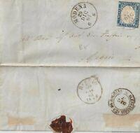 1861 20c indaco isolato su lettera con testo da Modena x Reggio