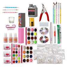 Colors Acrylic Powder Liquid Nail Art Kit Glitter UV Gel Glue Tips Brush Set Kit