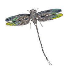 LARGE Sterling Silver & Marcasite Dragonfly Pin w/Multi Color Enamel Wings MPN50