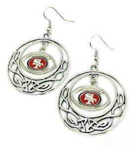 San Fransisco 49ers Football Dangle Fish hook Earrings FREE SHIPPING