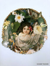 POST CARD Cynthia Hart design Victorian Young Girl sitting in Bowl Flowers 20032