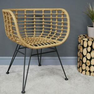 Harley Rattan Wicker Carver Dining Chairs Retro Woven Accent Style Black Legs