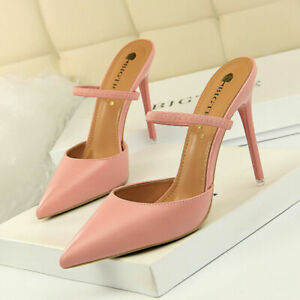 Women Sandals High Heels Stiletto Pointed Toe Strap Pumps Slingback Shoes Party