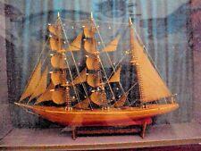 Ancienne maquette de bateau miniature dans son cadre sous verre 19 ème