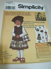 UNCUT Simplicity Patty Reed Designs 5296 Sewing Pattern Girl's BB Orig. $12.95