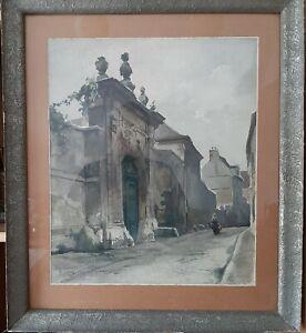 P. Vallet - Original-Aquarell mit einem Straßenmotiv (wahrscheinlich in Paris)