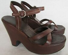 $895.00 Prada Calzature Donna Brown Leather Platform Wedge Sandals 7.5