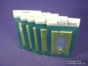5 Brainerd 1-Gang SOLID Polished BRASS Decorator Wallplate Covers GFCI GFI 946XC