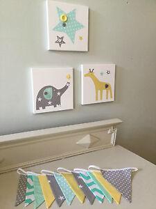 3 NURSERY BABY CANVASES BUNTING GREY YELLOW MINT GREEN ELEPHANT GIRAFFE STAR
