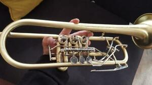 Berkeley STC Raw  Brass Rotary Bb Trumpet w/2 Harmonic Leadpipes